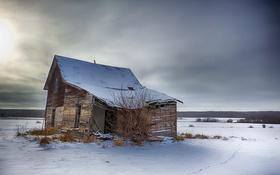 Обои холод, зима, небо, снег, пейзаж, домик