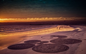 Обои landscape, sand, Beach Circles