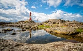 Обои отражение, камни, скалы, маяк, Норвегия, Ругаланн