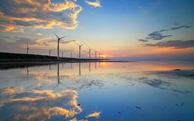 Обои небо, облака, закат, отражение, ветряная мельница