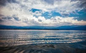 Картинка небо, вода, холмы, the Ripple