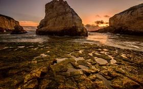 Обои закат, отлив, скалы, небо, море