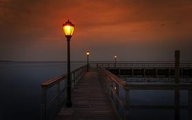 Картинка море, ночь, мост, светильники