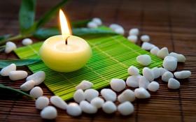 Обои камни, огонь, свеча