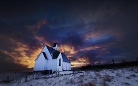 Обои Iceland, Firey sunset, Hvalfjordur, Hallgrímskirkja