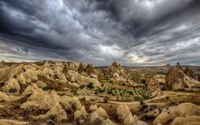 Обои Каппадокия, Турция, пейзаж, облака, небо