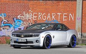Обои авто, граффити, тюнинг, Chevrolet, Camaro, кирпичная стена