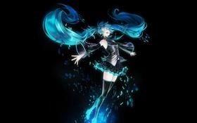 Картинка девушка, темный фон, vocaloid, hatsune miku