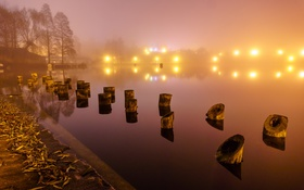 Картинка ночь, туман, река