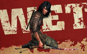 Обои girl, sword, blood, wet, background, video game, Rubi Malone