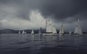 Обои гроза, облака, залив, регата