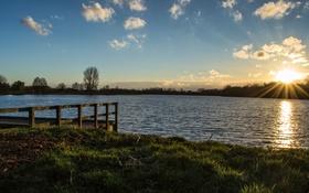 Обои Небо, озеро, солнце