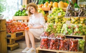 Картинка девушка, фрукты, овощи