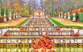 Обои осень, небо, тучи, парк, фонтан, Испания, каскад