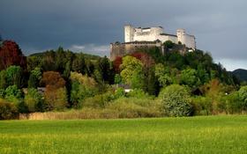Картинка осень, деревья, башня, гора, Австрия, крепость, Зальцбург