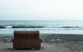 Обои пейзаж, диван, море