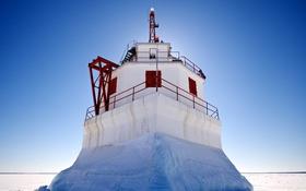Обои лед, зима, небо, снег, маяк, Мичиган, США