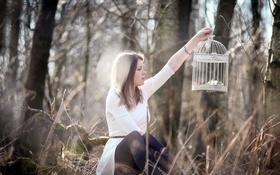 Картинка девушка, природа, клетка