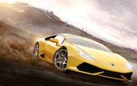Обои Lamborghini, One, 360, Yellow, Xbox, Game, Desert