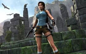 Обои пистолет, руины, lara croft, tomb raider, расхититель