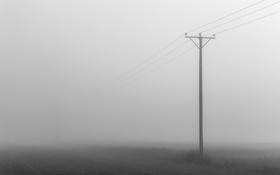 Обои поле, линии электропередачи, туман