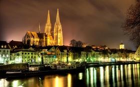 Картинка река, Дунай, Бавария, ночь, огни, Регенсбург, дома