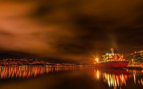 Обои город, холмы, ночь, огни, корабль, Новая Зеландия, море