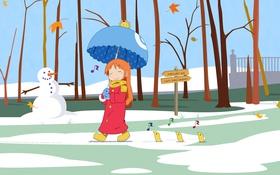 Картинка осень, листья, снег, парк, настроение, зонт, аниме