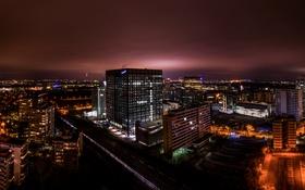 Картинка ночь, огни, дома, Германия, вид сверху, улицы, Эшборн