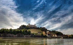 Обои пейзаж, река, замок, Германия, Бавария, холм, Вюрцбург