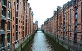 Обои небо, мост, дома, Германия, склад, канал, Гамбург
