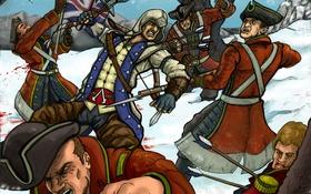Обои коннор, connor, ассасин, assassins creed 3, солдаты, революция, арт