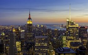 Обои Соединенные Штаты, Эмпайр-стейт-билдинг, Манхэттен, небо, Нью-Йорк, закат