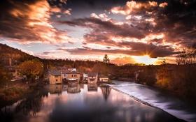 Обои осень, город, озеро, Italy, Verona, Valeggio sul Mincio