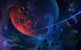 Обои арт, осколки, планеты, звёзды
