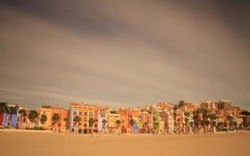 Обои песок, небо, облака, пейзаж, пальмы, краски, дома