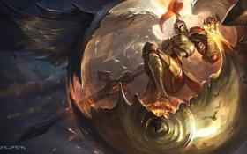 Обои крылья, доспехи, League of Legends, kayle, Judicator