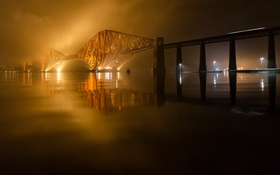 Обои река, мост, ночь