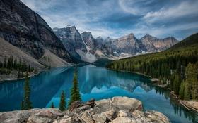 Картинка небо, горы, природа, озеро, река, долина, Канада