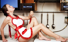 Картинка Sexy, Brunette, Erotic, Semi Nude, Unknown, Kitchen, Holding Chili Pepper