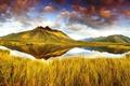 Картинка осень, небо, трава, облака, горы, озеро