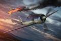Картинка самолет, огонь, дым, падение, aviation, авиа, MMO