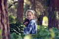 Картинка лес, девушка, деревья, блондинка, шишки