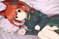Картинка девушка, арт, лежит, косички, ушки, touhou, kaenbyou rin