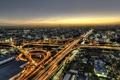 Картинка дорога, закат, Япония, фонари, сумерки, Осака