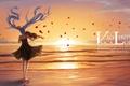 Картинка море, небо, вода, девушка, закат, цветы, птицы