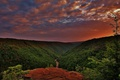 Картинка небо, облака, деревья, пейзаж, горы, sky, trees