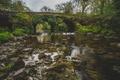 Картинка мост, отражение, река, камни, зеркало, дождливое