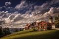 Картинка трава, облака, деревья, горы, поля, дома, обработка