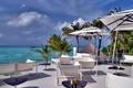 Картинка пальмы, отдых, мебель, зонтики, Мальдивы